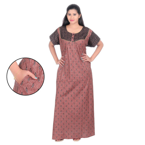 Brown Color Cotton Women's Square Neck Nighty - NW0239_BR