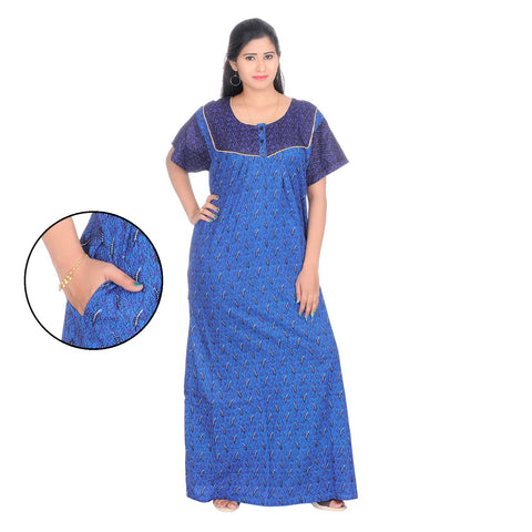 Blue Color Cotton Women's Square Neck Nighty - NW0239_B