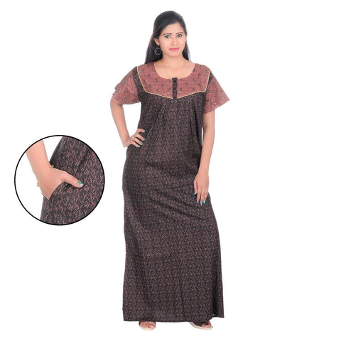 Brown Color Cotton Women's Square Neck Nighty - NW0240_BR