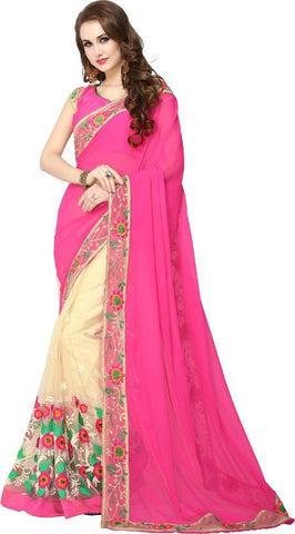 Pink And Cream Color Georgette And Nylon Mono Net Saree - NX106