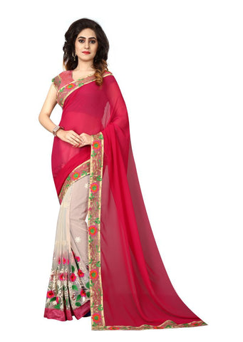 Off White And Red Color Nylon Mono Net And Georgette Saree - nx106