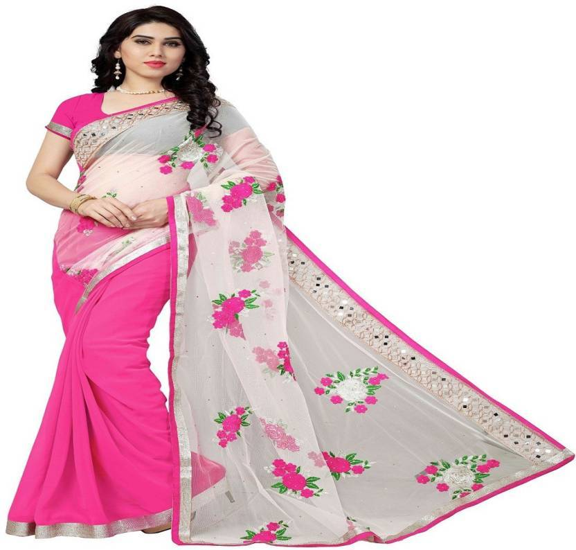 cbb4b37f95 Buy White And Pink Color Nylon Mono Net And Georgette Saree | Zinnga