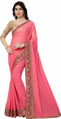 Peach Color Georgette Saree - NX124