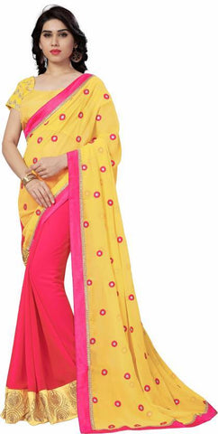 Yellow And Red Color Georgette Saree - NX132