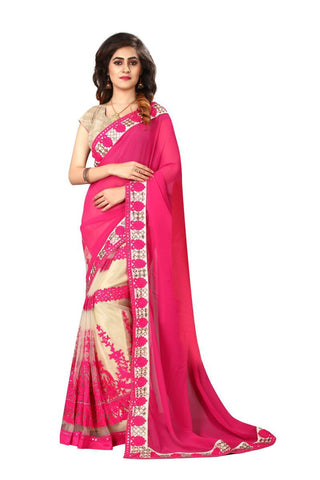 Cream And Pink Color Georgette And Nylon Mono Net Saree - NX156