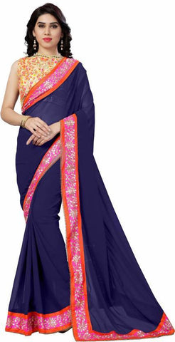 Navy Blue Color 60Gm Georgette Saree - NX15