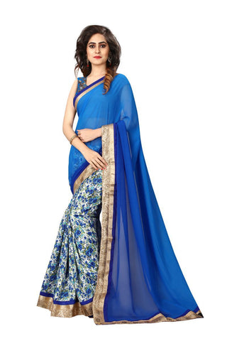 Blue And White Color Pedding Georgette Saree - NX223
