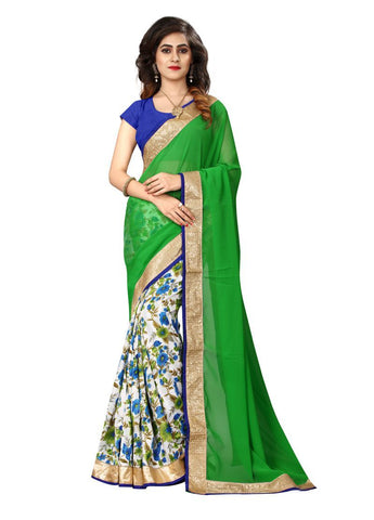 Green And White Color Georgette And Bhagalpuri Print Saree - NX225