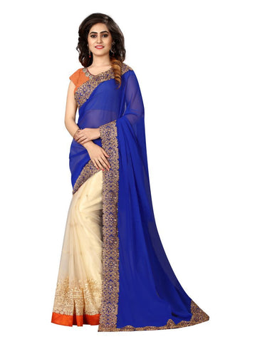 Cream And Blue Color Georgette And Nylon Mono Net Saree - NX38
