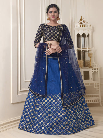Blue Color Pure Banglori Silk Semi Stitched Lehenga - NYABA2848
