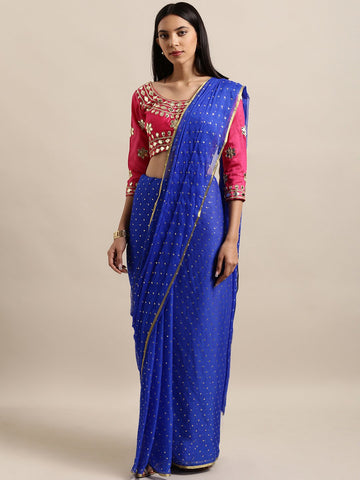 Blue Color Nazmeen Zari Women's Solid Saree - NYDDABLUEDP