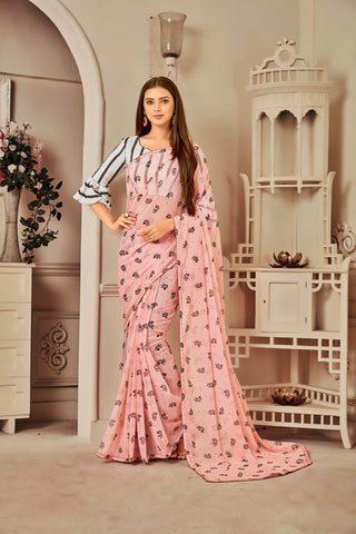 Light Pink Color Georgette Women's Saree with Blouse Piece - NYFNA556