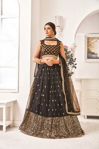 Black Color Mono Net Women's Semi-Stitched Lehenga - NYPJA5123