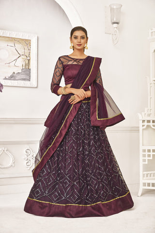 Maroon Color Mono Net Women's Semi-Stitched Lehenga - NYPJA5126