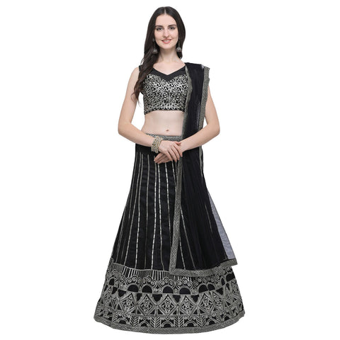 Black Color Satin Women's Semi-Stitched Lehenga Choli - NYPJA5127DP