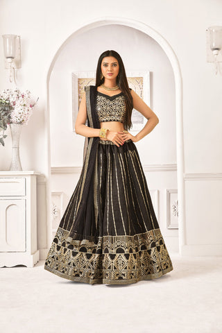 Black Color Banglori Satin Silk Women's Semi-Stitched Lehenga - NYPJA5127
