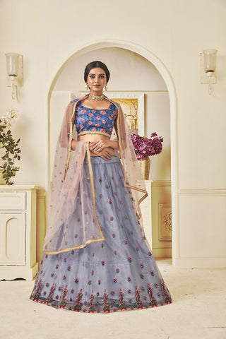 Grey Color Mono Net Women's Semi Stitched Lehenga Choli - NYSFYA5113