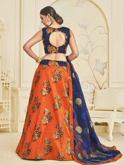 Orange Color Banarasi Jacquard Women's Semi-Stitched Lehenga Choli - NYSFYA5116_ORANGE