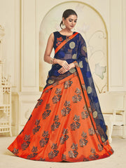 Buy Orange Color Banarasi Jacquard Women's Semi-Stitched Lehenga Choli