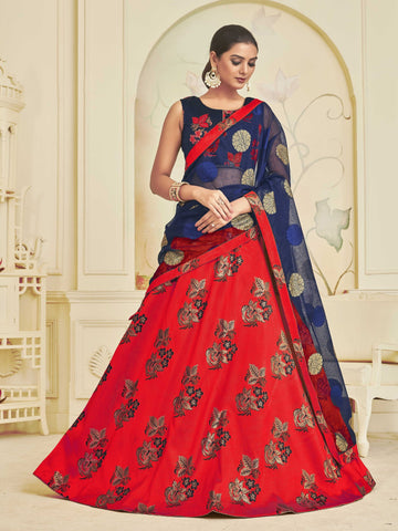 Red Color Banarasi Jacquard Women's Semi-Stitched Lehenga Choli - NYSFYA5116_RED