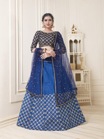 Blue Color Banglori Silk Women's Semi Stitched Lehenga Choli - NYSFYA5118