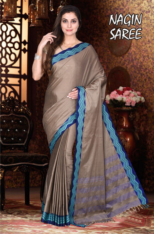 Beige and RawBlue Color Cotton Masaraised Saree - Nagin-001