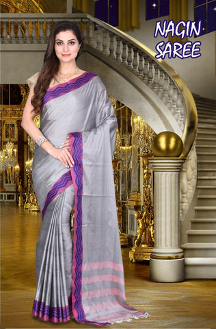SteelGrey and Pink Color Cotton Masaraised Saree - Nagin-002