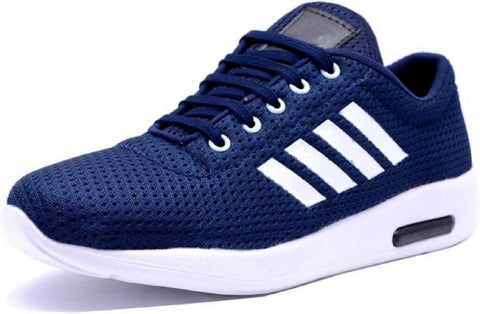 Navy Color Mesh Running Shoe - Navy4Strip