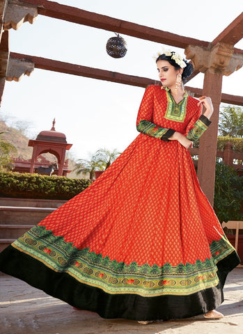 Orange Color Japan Satin Semi Stitched Lehenga  - Navya3-128