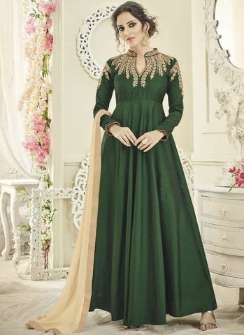 Green Color Japan Satin Semi Stitched Lehenga  - Navya4-132