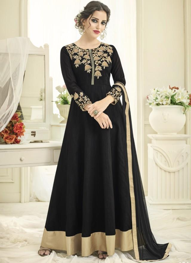 Black Color Japan Satin Semi Stitched Lehenga  - Navya4-134