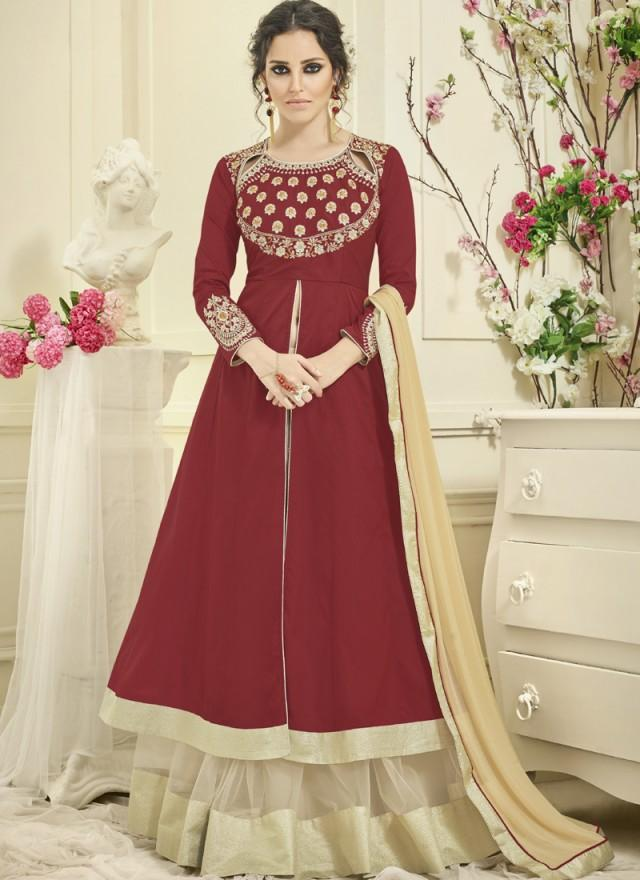 Maroon Color Japan Satin Semi Stitched Lehenga  - Navya4-135