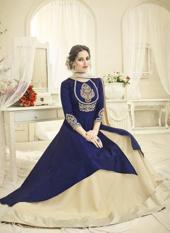 Navy Blue And Cream Color Japan Satin Semi Stitched Lehenga  - Navya4-136