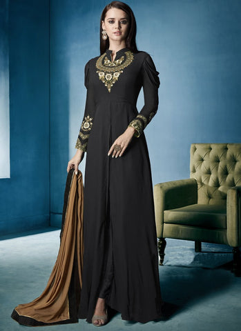 Black Color Lichi Georgette Stitched Salwar - Navya7-162