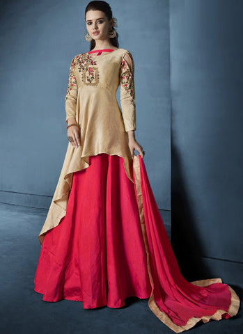Beige And Red Color Soft Tapeta Silk Stitched Salwar - Navya8-173