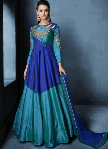 Sea Blue And Blue Color Soft Tapeta Silk Stitched Salwar - Navya8-175