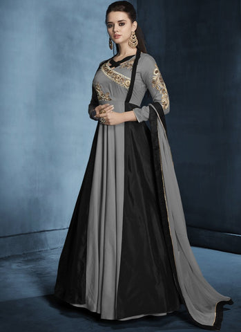 Black And Grey Color Soft Tapeta Silk Stitched Salwar - Navya8-179