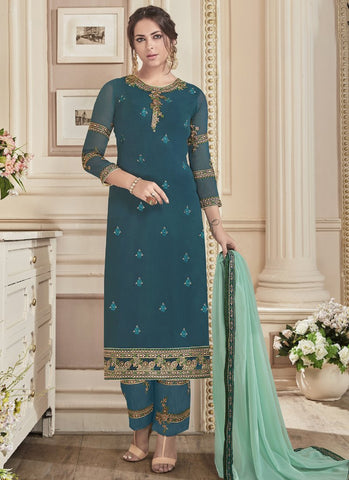 Sea Green Color Georgette Semi-Stitched Salwar - Nayra3-41042