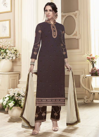 Brown Color Georgette Semi-Stitched Salwar - Nayra3-41043