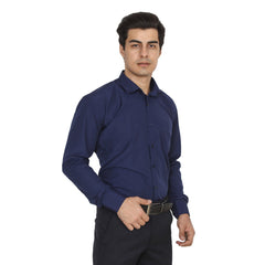 Buy Navy Grey Color Cotton Blend Slim Fit Shirts