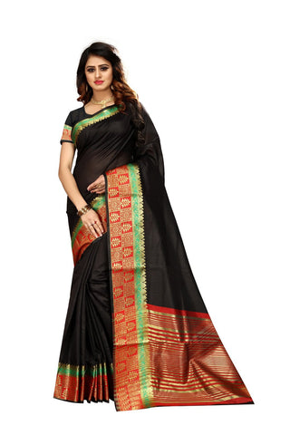 Black Color Kora Silk Saree - Niyalvol1-3001
