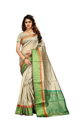 Silver Color Kora Silk Saree - Niyalvol1-3002