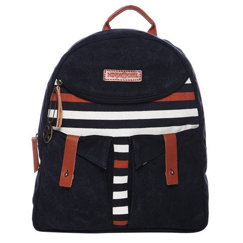 Black Color Washed Cotton Canvas And Buff Leather Womens Backpack - OB54000BP