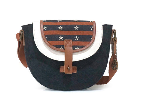 Multi Color Washed Cotton Canvas And Buff Leather Womens Cross Body - OC72000CB