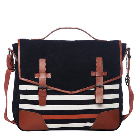 Black Color Washed Cotton Canvas And Buff Leather Womens Messenger - OM93100MB