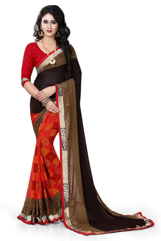 Brown Color Georgette Saree - ON-107