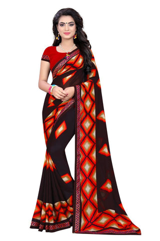 Brown Color Georgette Saree - ON-124
