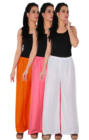 Pack Of 3 Rayon Palazzos - OP2W
