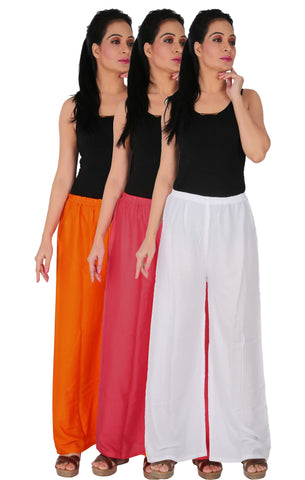 Pack Of 3 Rayon Palazzos - OPW