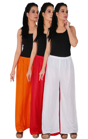 Pack Of 3 Rayon Palazzos - ORW
